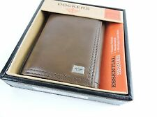 DOCKERS MEN'S PREMIUM LEATHER Wallet BROWN Trifold