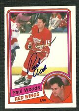 PAUL WOODS 84-85 O-PEE-CHEE HAND SIGNED AUTOGRAPH DETROIT RED WINGS
