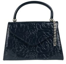 Faux Leather Patent Clutch Bag Glossy Floral Embossed Top Handle Handbag Womens
