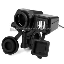MOTORCYCLE DUAL USB MOBILE PHONE POWER SUPPLY CHARGER WATERPROOF PORT SOCKET 12V