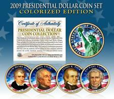2009 U.S. MINT COLORIZED PRESIDENTIAL $1 DOLLAR COINS * COMPLETE SET OF 4 *