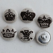 5 Linen Fabric Covered Sewing Buttons Royal Crown - Dark Brown