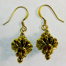 Fantasy Steampunk Bright Brass Gears Beaded Dangle Earrings Handcrafted for you!