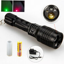 Tactical 2000LM LTS LED Hunting Flashlight Torch Zoom 18650+Green Red Laser