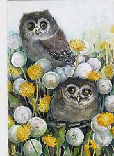 RARE hide-ad-seek peekaboo owls Dandelions Plovetskaya Russian modern postcard