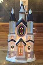 "CHRISTMAS VILLAGE LIGHTED HOUSE VICTORIAN CHURCH CATHEDRAL ""STAINED GLASS WINDOW"