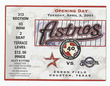 2001 Houston Astros Opening Day Season Ticket Stub Enron Field