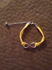 Two Infinity Friendship Bracelets Silver tone Charm Yellow Cording Valentines