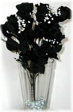 14 Long Stem Roses ~ BLACK ~ Silk Wedding Flowers Centerpieces Long Stem Gothic