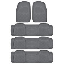 4 Row Rubber Floor Mats & Liners Set in Gray - HEAVY DUTY All Weather Tough