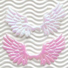 "US SELLER- 60pcs x 2.75"" Padded Shiny Satin Angel Wing Appliques for Card ST590A"