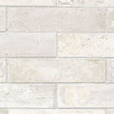 Off White, Cream, Grey & Beige Realistic Brick with Grey Grout Wallpaper LL29532