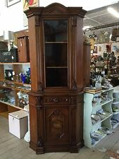 Large Corner Display China Cabinet Shelves Bookcase 2 Sections KEY Drawer 220cm