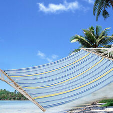 "78""x55"" Double Size Hammock Polyester Fabric Heavy Duty Wood Spreader Bar New"