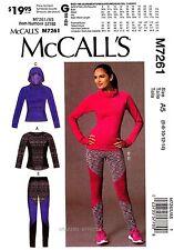 McCall's Sewing Pattern M7261 Women's 6-14 Tops Leggings Hoodie Sweats 7261