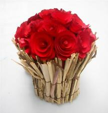 Wood Chip Red Rose Bunch Wedding Favours Xmas Home Table Decoration Display