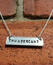Thundercunt Necklace Silver Chain 60cm Gift Bagged Offensive Rude Alternative