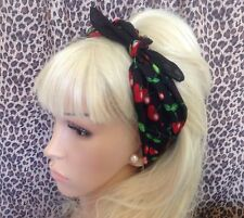 NEW BLACK RED CHERRY PRINT COTTON BANDANA HEAD HAIR NECK SCARF ROCKABILLY PIN UP