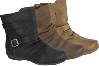 Ladies Womens Low Wedge Buckle Zip Pixie Biker Ankle Boots Shoes Size 3-8