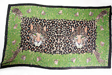 Beach Swimsuit Bathing Suit Cover Up Wrap Black Green Animal Leopard Print Scarf