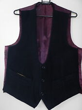 Vintage Mens Dark Blue Thick Wool Dress Formal Waistcoat Vest Size UK 36 Small