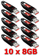 LOT 10x SanDisk 8GB Cruzer ULTRA 32 GB Flash Pen Drive SDCZ45-008G USB 8G 10 x