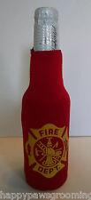 FIRE DEPARTMENT Dept Fighter Beer Soda Water BOTTLE Wrap Cooler  Jacket KOOZIE