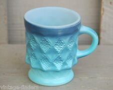 Old Vintage Anchor Hocking Fire King Kimberly Blue Cup / Mug Diamond Pattern