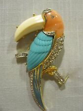 Retro 1970's Figural Toucan Bird Brooch/Pin Designed by KJL for Hattie Carnegie