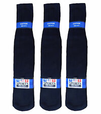 "22"" LONG 12 PAIR MEN WOMEN SPORTS SOCCER FOOTBALL TUBE SOCKS BLACK SOLID"