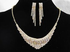 Gold With AB Iridescent Rhinestone Crystal Necklace and Earrings Set