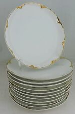 ANTIQUE LIMOGES WHITE GOLD DESSERT/SALAD PLATE SET 12 HAVILAND SCALLOPED