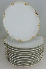 ANTIQUE LIMOGES WHITE GOLD DESSERT/SALAD PLATE SET 12 HAVILAND SCALLOPED