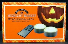 Halloween Pumpkin Lights Candles Battery Operated With Remote Set of 2