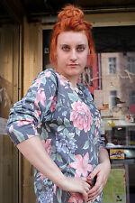 Damen Pullover Shirt Blumen flowers schwarz bunt 90er True VINTAGE 90´s women