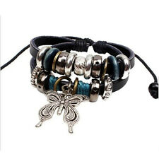 New Fashion Womens Jewelry Infinity Leather Charm Bracelet Silver Beads Style