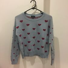 Topshop Blue With Red Hearts Jumper UK6