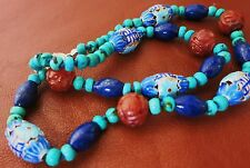 ANTIQUE VINTAGE CHINESE CARVED CARNELIAN LAPIS TURQUOISE ENAMEL NECKLACE 19""