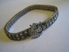 "Antique Pat. 3-20-17 Sterling Silver ""DIAMONBAR"" Art Deco Rhinestone Bracelet"