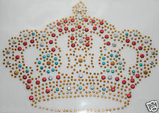 New gold crown fer-sur-transfert motif roi/reine rouge/bleu/argent/or strass