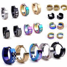 Whoelsale Mixed Lots 5Pairs Fashion Cool Mens Women Stainless Steel Hoop Earring