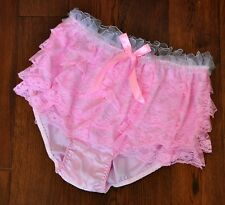 JOL 2 231 - Big flouncy frilly bum baby pink satin knickers, 1XL, cd/tv/ab