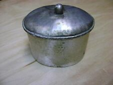ANTIQUE ORNATE HAMMERED OVAL SILVER TONE JEWELRY TRINKET BOX W/ LID