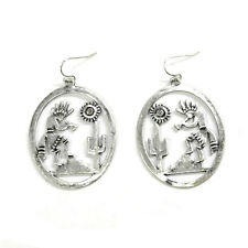 Oval Burnished Silver Cut Out Earrings Wire Dancing Indian Mountain Cactus Sun