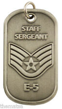 "AIR FORCE STAFF SERGEANT  E-5 ENGRAVABLE REGULATION  METAL DOG TAG 24"" CHAIN"