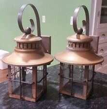 Pair Large Vintage Seedy Glass Coach Wall Lights Bronze