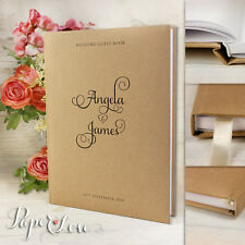 A4 Wedding Guest Book Simple Kraft Brown & Black Personalised Handmade 50 Pages