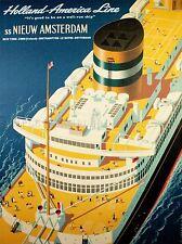 TRAVEL TRANSPORT HOLLAND AMERICA OCEAN LINER SHIP FUNNEL DECK NETHERLANDS USA