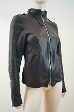 SECRET CIRCUS Black Leather Zip & Stud Neck Fastened Biker Jacket Sz: M