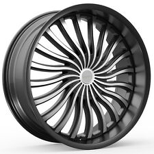 4-NEW KRONIK 407 PSYKOSIS 22x8.5 5x115/5x120 +15mm Black/Machined Wheels Rims